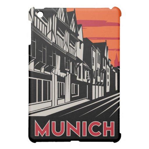 poster retro del viaje del art déco de Munich iPad Mini Cobertura