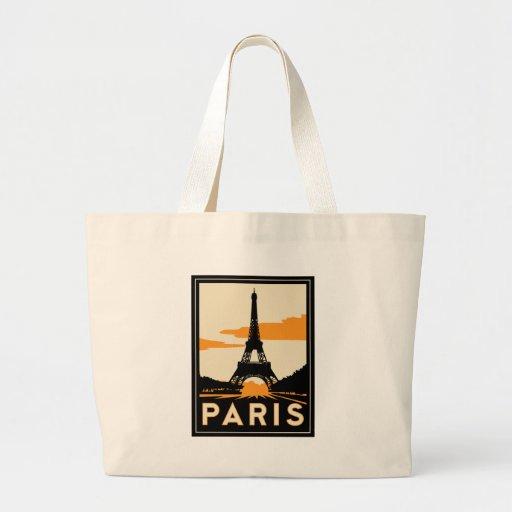 poster retro del viaje del art déco de París Bolsa De Mano