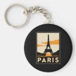 poster retro del viaje del art déco de París Llavero