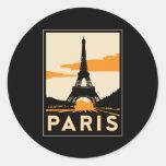 poster retro del viaje del art déco de París Pegatina Redonda