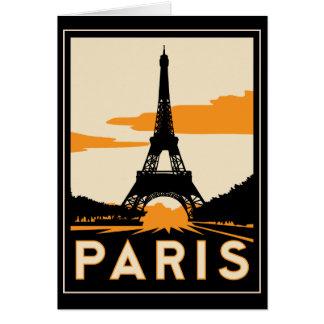 poster retro del viaje del art déco de París Tarjetas