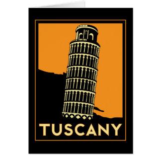 Poster retro del viaje del art déco de Toscana Ita Tarjeton