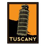 Poster retro del viaje del art déco de Toscana Ita Tarjetas Postales
