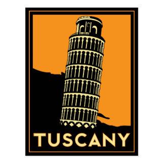 Poster retro del viaje del art déco de Toscana Postal