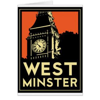 poster retro del viaje del art déco de Westminster Tarjeta