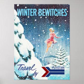 Poster retro del viaje del invierno de Amtrak