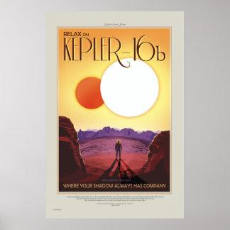 Poster retro del viaje del viaje Kepler-16b de la
