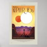 Poster retro del viaje del viaje Kepler-16b de la Póster