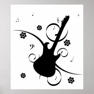 Poster retro enrrollado de la guitarra de la roca