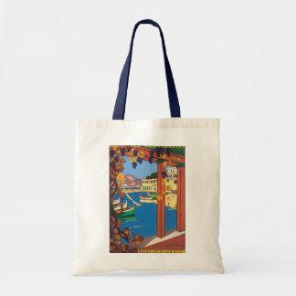 Poster riviera francesa mediterránea del viaje del bolsa tela barata