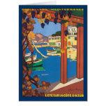 Poster riviera francesa mediterránea del viaje del tarjeta
