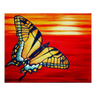 Poster rojo amarillo de la mariposa