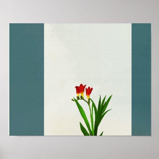 poster rojo amarillo de las flores