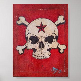 Poster rojo apenado de la pintura del cráneo