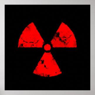 Poster rojo apenado del símbolo de la radiación