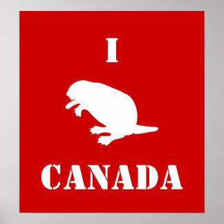 Poster rojo blanco del castor del día de Canadá