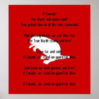 Poster rojo blanco del himno del castor del día de