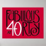 Poster rojo blanco negro 40 fabulosos