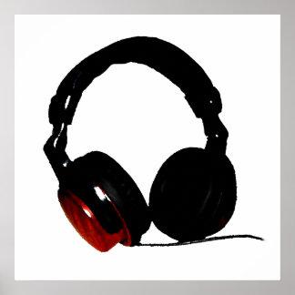 Poster rojo blanco negro del auricular del arte