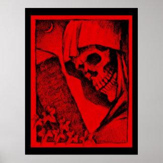 Poster rojo colosal del cráneo