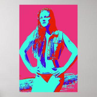 poster rojo confiado del chica del bikini