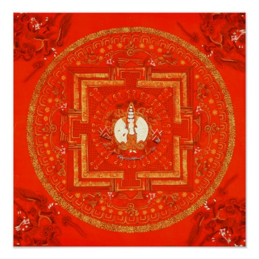 Poster rojo de Chenrezig