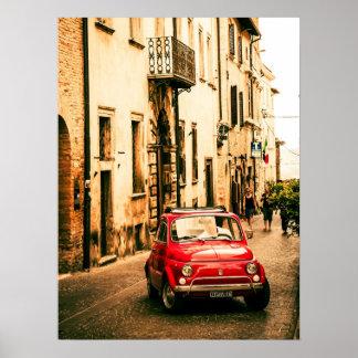 Poster rojo de Fiat 500, cinquecento del vintage,