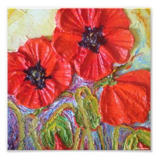 Poster rojo de la bella arte de las amapolas II de Impresiones Fotograficas