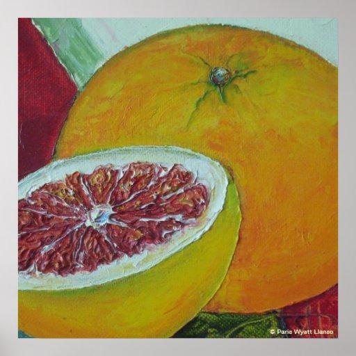 Poster rojo de la bella arte del pomelo