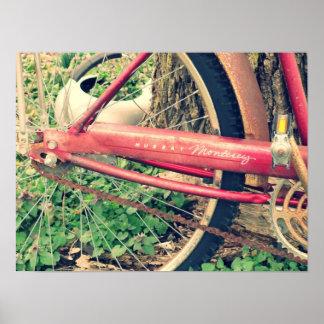 Poster rojo de la bicicleta del vintage