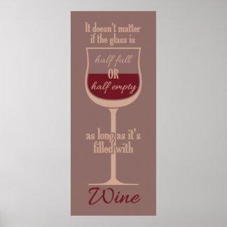 Poster rojo de la copa de vino