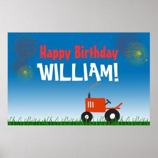 Poster rojo de la fiesta de cumpleaños del tractor