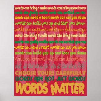 Poster (rojo) de la materia de las palabras