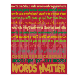 Poster (rojo) de la materia de las palabras póster