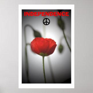 Poster rojo de la paz de la amapola de la independ