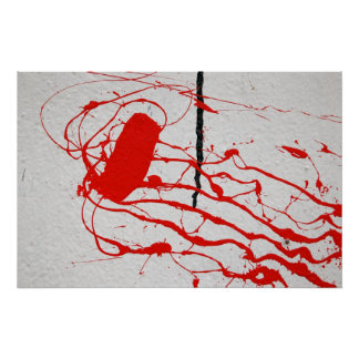 poster rojo de la pintura