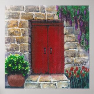 poster rojo de la puerta