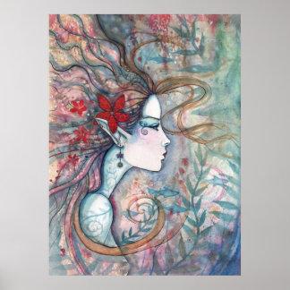 Poster rojo de la sirena de la flor por Molly Harr
