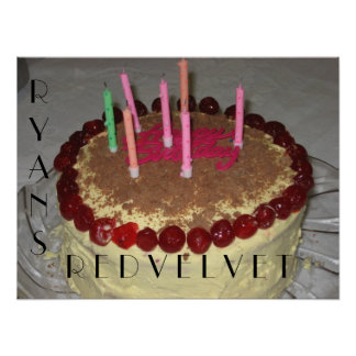Poster rojo de la torta del terciopelo