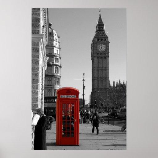 Poster rojo de Londres de la cabina de teléfonos