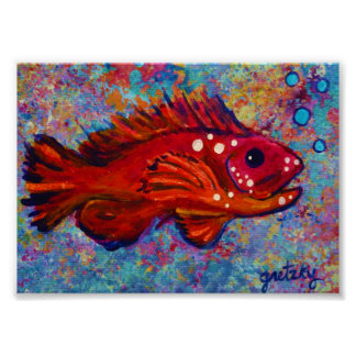 Poster rojo de los pescados