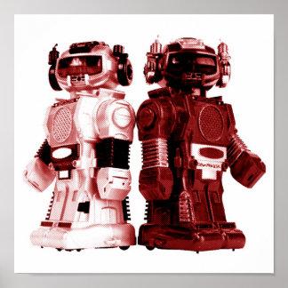 poster rojo de los robots