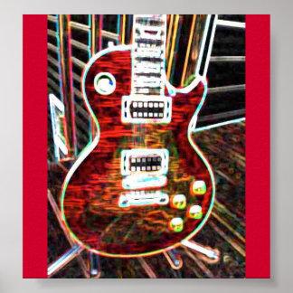 Poster rojo de neón de la guitarra eléctrica póster