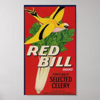 poster rojo del apio de la cuenta
