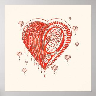 Poster rojo del arte del corazón de la espina
