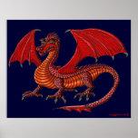 Poster rojo del arte del dragón