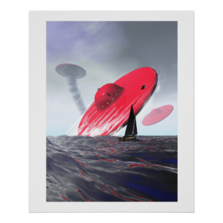 Poster rojo del ataque del platillo