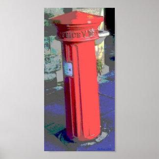 Poster rojo del buzón de correos