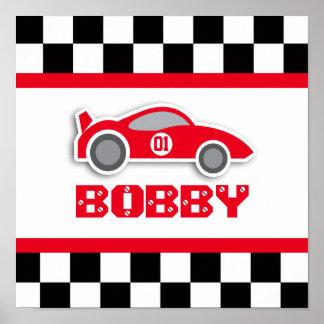 Poster rojo del coche de competición del cuarto de