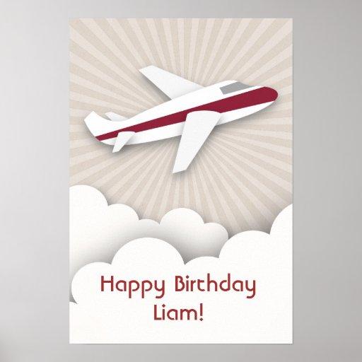Poster rojo del cumpleaños del aeroplano